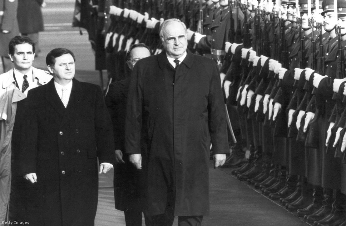 Helmuth Kohl és Németh Miklós Kohl 1989. december 19-i magyarországi látogatásakor