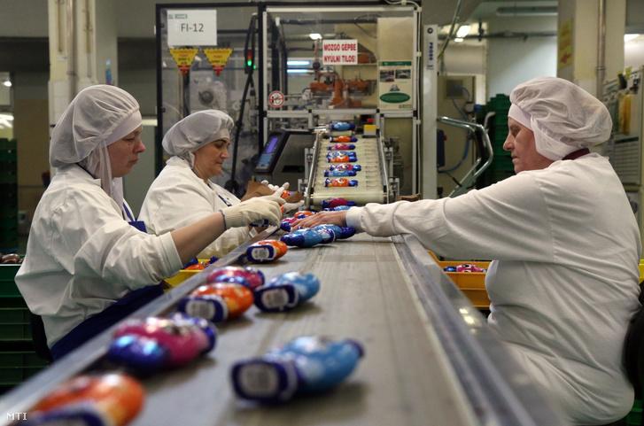 Csokoládényulakat csomagolnak a húsvéti csokoládétermékek gyártása során a Nestlé Hungária Kft. diósgyőri gyárában Miskolcon 2020. február 6-án.