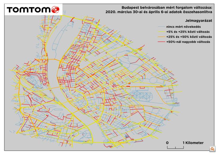 Forgalomnövekedés Budapest belvárosában március 30-hoz képest április 6-án - Forrás: TomTom