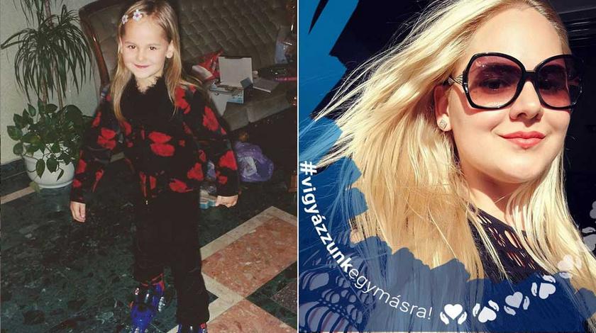 Fásy Zsüliett ötévesen, a négy év kihagyás után posztolt gyerekkori fotóján és napjainkban.