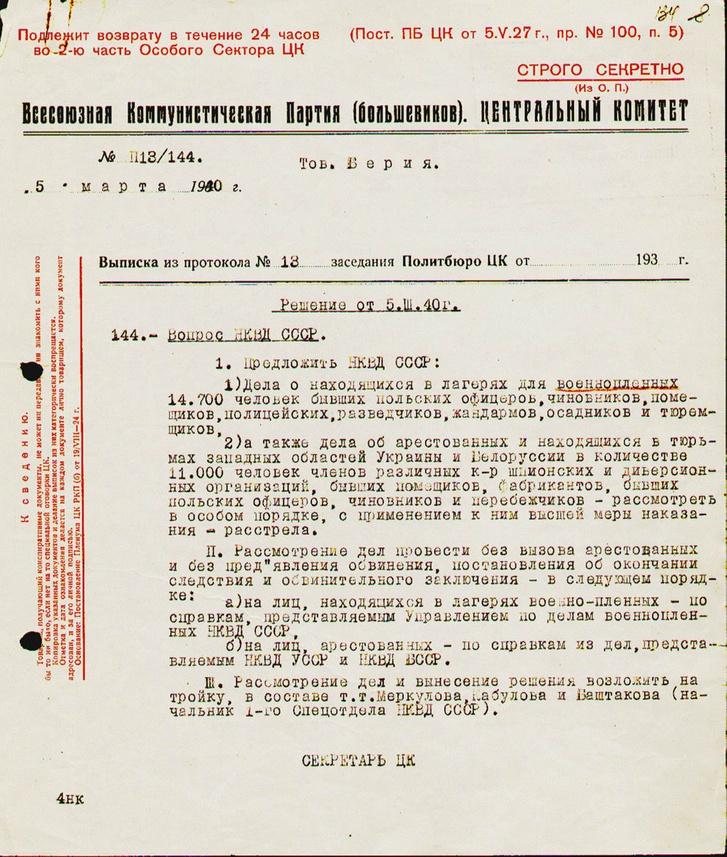 Az SZK(B)P PB 1940. március 5-i döntése