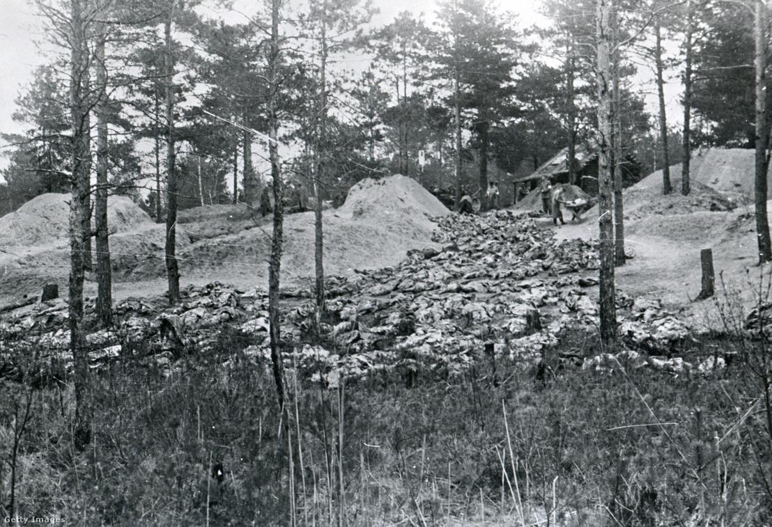 A katyńi tömeggyilkosságok áldozatainak exhumált maradványai 1943-ban