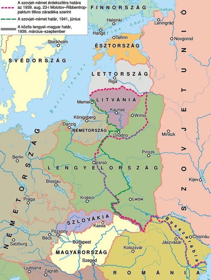 A Molotov-Ribbentrop-paktum után kialakult új határok