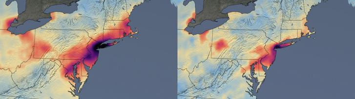 Balra a 2015-19-es évek márciusi NO2-szintjének átlagai, a sötétebb színek rosszabb értékeket jelentenek. Jobbra az idei értékeket mutatja a térkép.