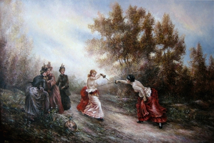 Anastasia von Kielmannsegg és Pauline von Metternich híres párbajának egyik korabeli ábrázolása a sok közül