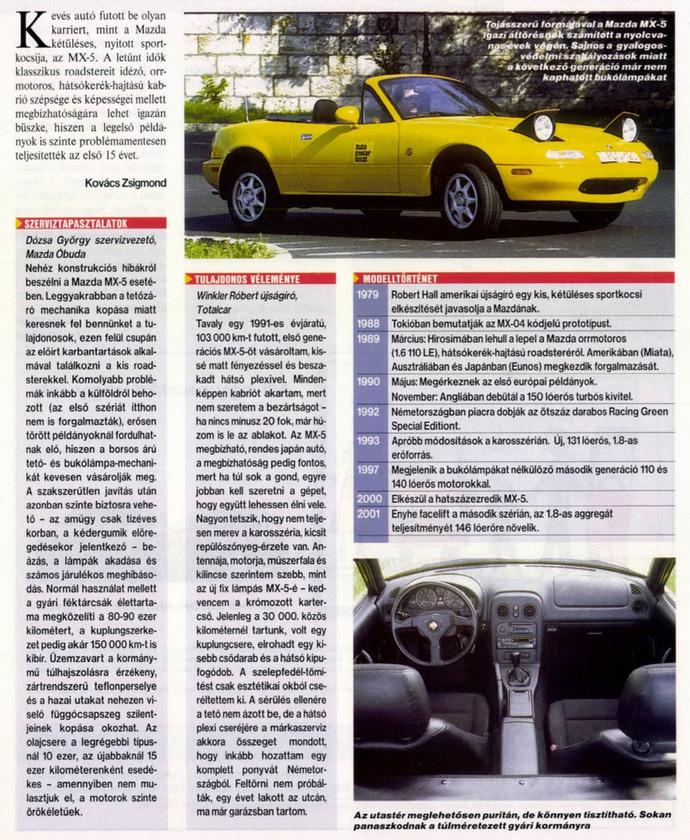 Winkler tulajdonosként nyilatkozik az Autó-Motorban.                         Autó-Motor - 2004/08/11