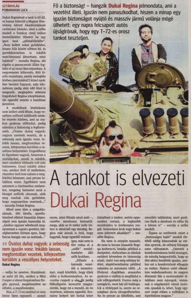 Hír az is, ha Dukai Regina tesztel a Totalcar tévéműsorában.                         Kisalföld - 2013/11/14