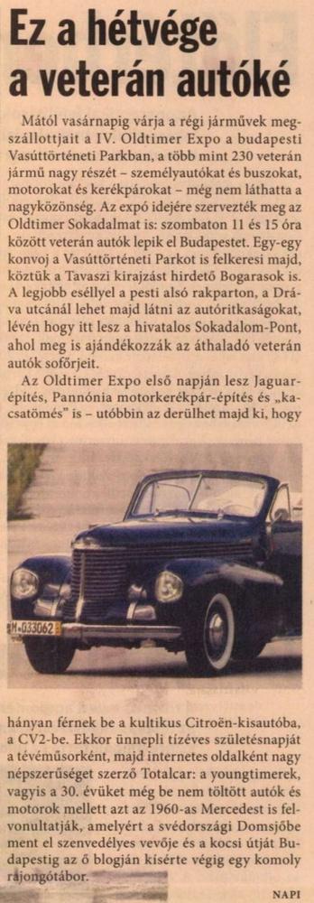 Még mindig az OT Expo, benne a Totalcarral.                         Napi Gazdaság - 2010/04/16