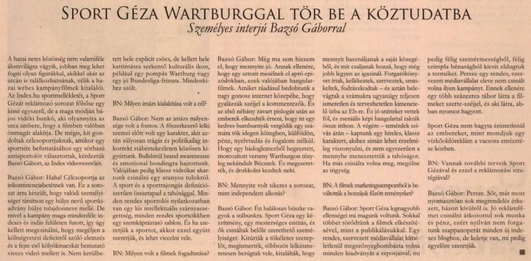 Sport Géza megvan?                         Napi Gazdaság - 2008/09/02