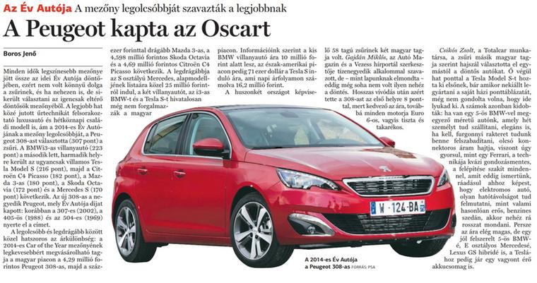 Még mindig Év Autója, még mindig Totalcar.                         Népszabadság - 2014/03/04