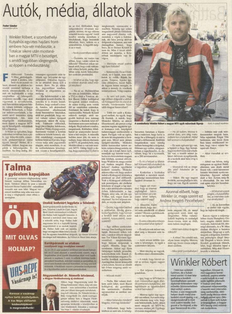 Robit megkeresik hazulról.                         Vas Népe - 2007/11/03
