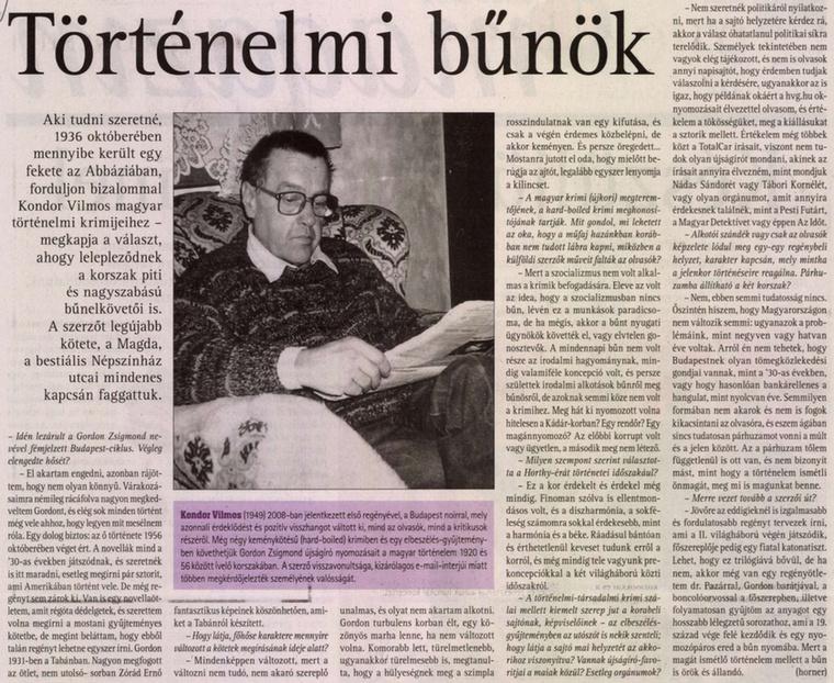 Kondor Vilmos történelmi krimiíró is olvas minket