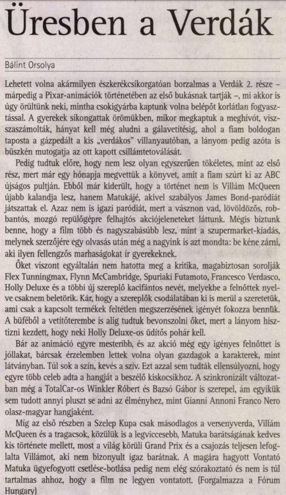 És hogy a Verdákban is a két TC-s hülye hangján szólalnak meg a bemondók?                         Vasárnapi Hírek -  2011/07/31