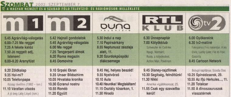 Hopp-hopp, a tévéműsor, ott, a tv2 alatt!                         Szabad Föld - 2002/08/30