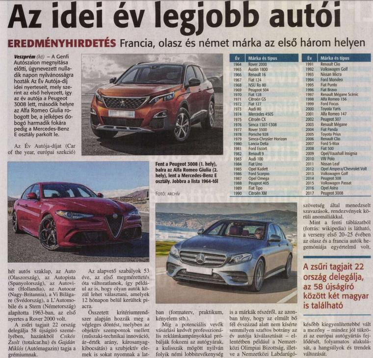 Megint egy Peugeot nyeri az Év Autója-díjat