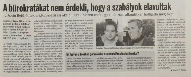 Amikor a TC Kreszt próbált módosíttatni.                         Veszprémi Napló - 2006/03/19