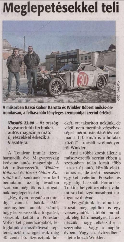 A ViaSat6-on az új Totalcar tévéműsor.                         Veszprémi Napló - 2017/03/09