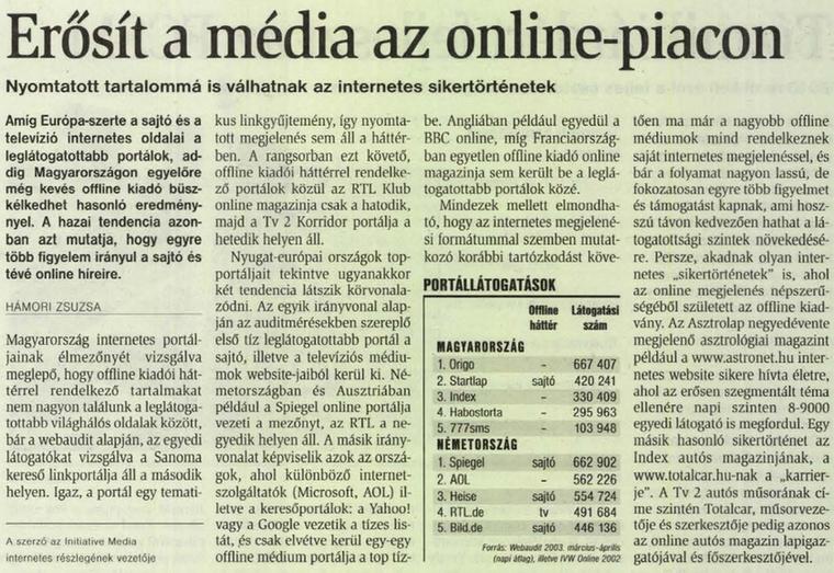 Zöld papíron jelent meg a vg, ebben a cikkben pedig az internetes portálok feljöveteléről esik szó