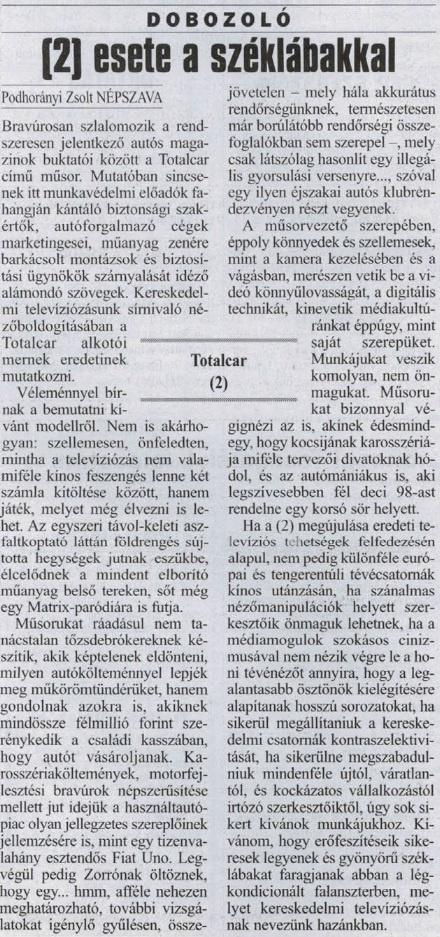 Lelkes írás a nyomtatott sajtó bal széle felől.                         Népszava - 2002/11/05