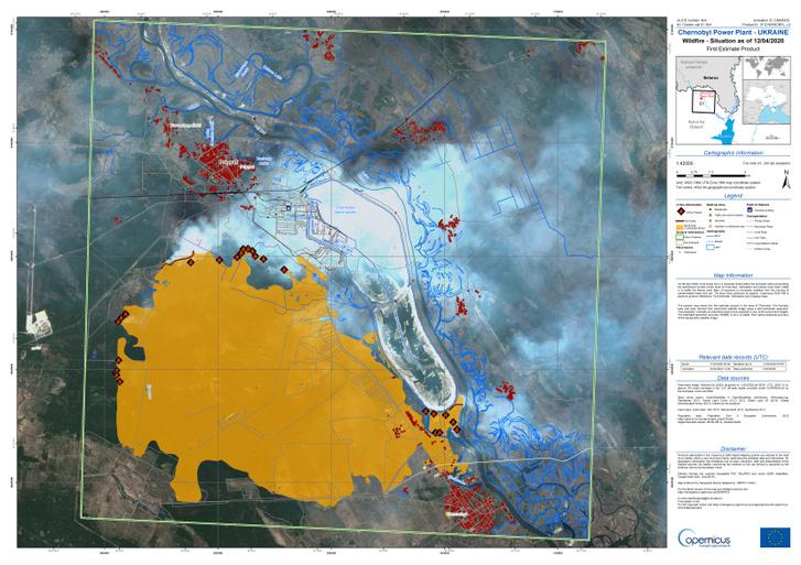 A képen a sárga terület mutatja a leégett részeket a 2020 április 12-i adatok alapján