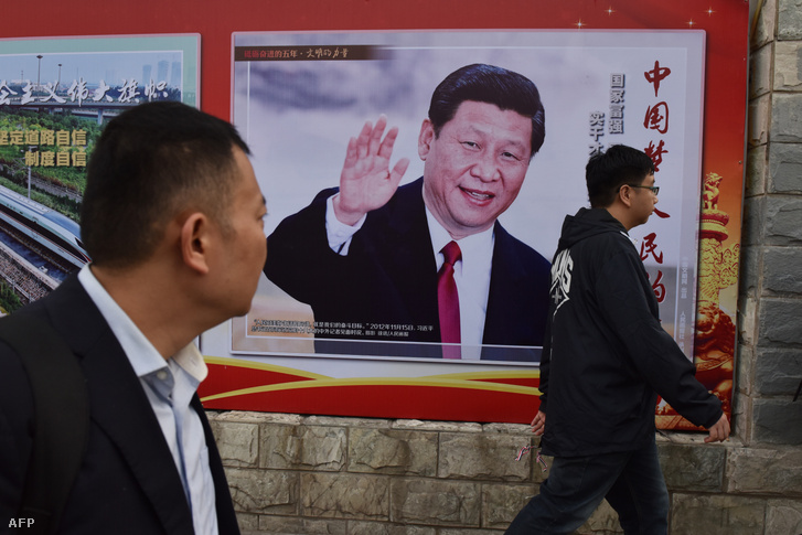 Hszi Csin-ping kínai elnök képe Pekingben 2017-ben