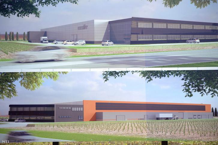 Az EcoSolifer Kft. mintegy 15 milliárd forintos beruházással épülő csornai napelemgyárának látványterve a gyár alapkövének lerakásán 2014. szeptember 20-án.