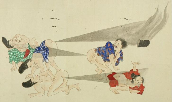A japán fingócsatát megörökítő tekercs egy jelenete (ismeretlen művész, Edo-kor)