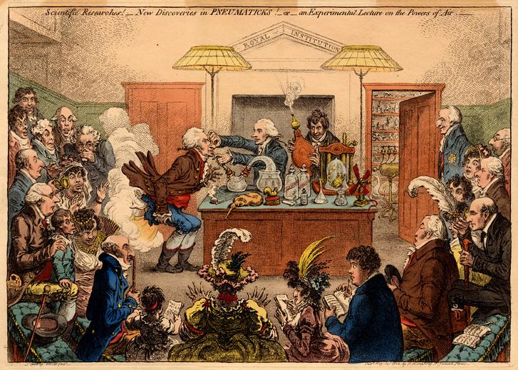 James Gillray karikatúrája: Az újabb pneumatikai felfedezések (1802)