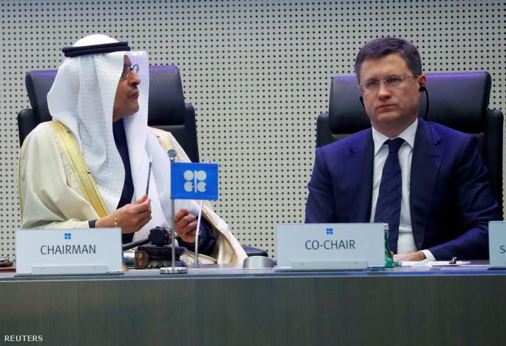 A szaúdi és az orosz energiügyi miniszter egy olajügyi találkozón Bécsben 2019 decemberében