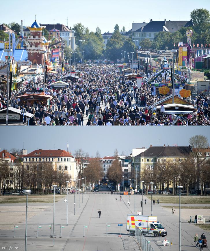 Kombókép a Terézia-mezőnek (Theresienwiese) nevezett térről a 186. müncheni sörfesztivál, az Oktoberfest idején 2019. szeptember 21-én (felül) és ugyanarról a helyszínről 2020. március 25-én. A téren jelenleg a koronavírus-járvány miatt létesített autós tesztállomás működik.