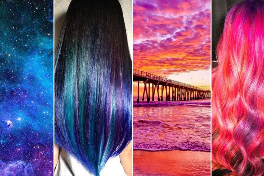 Elképesztő, milyen hajakat készít ez a fodrász: ilyenek a naplemente vagy a galaxis árnyalatai a tincseken