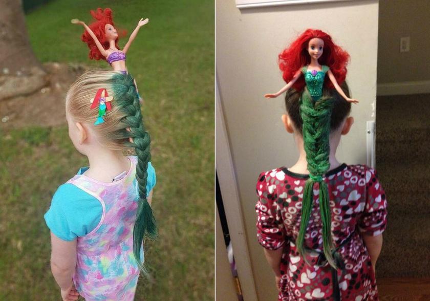 """A fantázián kívül egy vörös hajú Barbie baba és némi kézügyesség, meg persze egy flakon hajszínező szükséges a képen látható """"kis hableány"""" frizurához."""