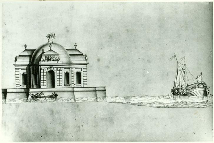 Kiskastély terve a tatai Öreg-tó közepére. Fellner Jakab, 1763
