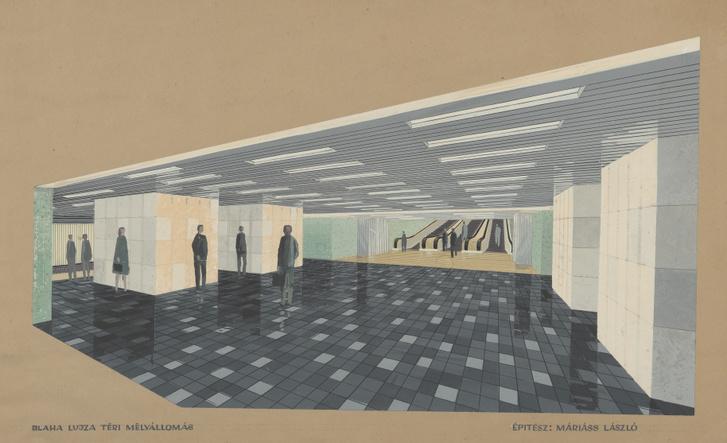 Máriáss László terve a Blaha Lujza téri mélyállomás középperonjára. Sajnos a metróvonal állomásainak eredeti építészeti kialakítása áldozatul esett a 2004 és 2007 között végrehajtott felújításnak