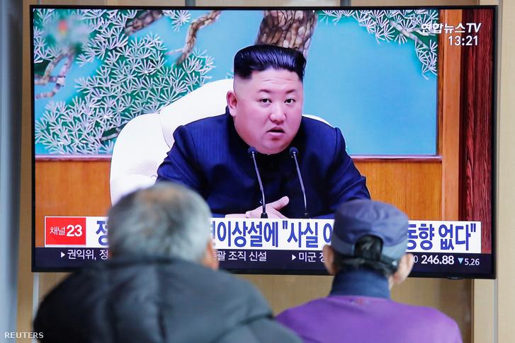 Kim Dzsongunról szóló hírek egy szöuli TV-ben 2020. április 21-én