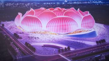 Lótuszvirág formájú, százezres stadiont építenek Kínában