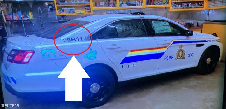 A rendőrség által kiadott fotó az elkövető autójáról