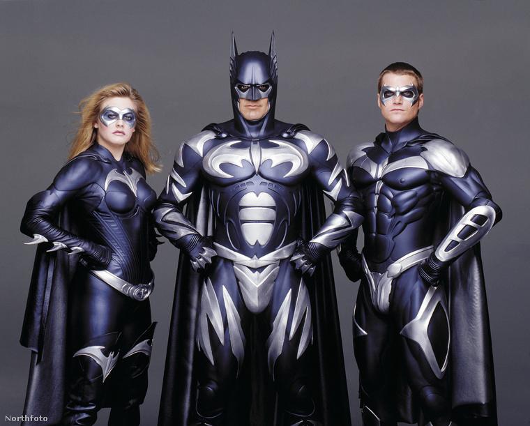 Alicia Silverstone, George Clooney és Chris O'Donnell a Batman és Robin című filmhez készült reklámfotón.