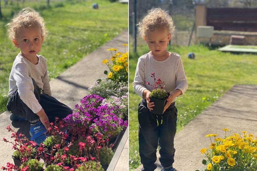 Horváth Éva kisfia imád a kertben tenni-venni, a kertészkedésbe is besegít.