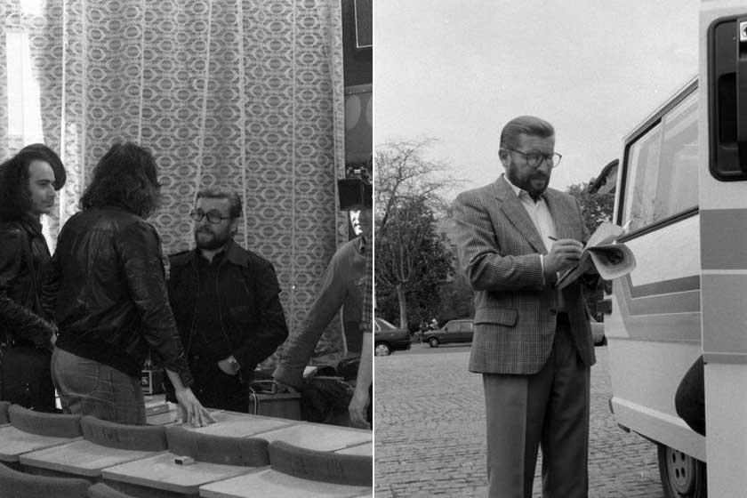 Győrffy Miklós 1981-ben a beatzenészek és állami vezetők központi szervezésű találkozóján, illetve a Magyar Televízió külső munkatársaként 1990-ben a május elsejei majáliskor.
