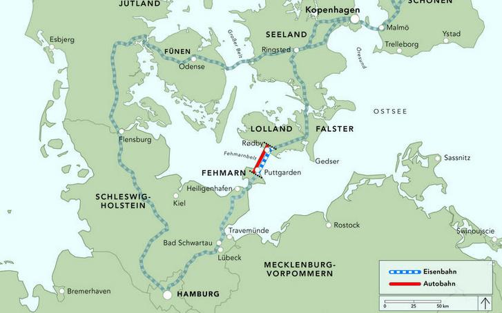 Kékkel a vasút, pirossal az autópálya alagúti szakasza. A vasúthálózatot jelző térkép jól mutatja, hogyan csatlakozna az alagút a környező vasúthálózatba