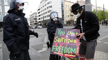 A karantén ellen tüntettek, letartóztattak több tucatnyi berlini tiltakozót