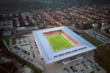 A DVTK-stadion a Diósgyõri VTK - Mezõkövesd Zsóry FC labdarúgó-mérkõzés közben készült felvételen Miskolcon 2019. augusztus 24-én.