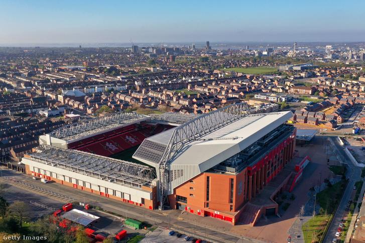 Az Anfield-stadion 2020. április 20-án, Liverpoolban.