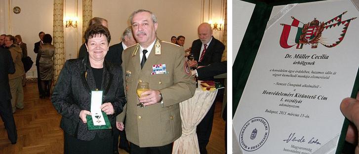 Dr. Müller Cecília megyei tisztifőorvos a honvédelem ügye érdekében, huzamos időn át végzett kiemelkedő munkája elismeréséül 2013. március 12-én átvette a Honvédelemért Kitüntető Cím I. osztálya kitüntetést.