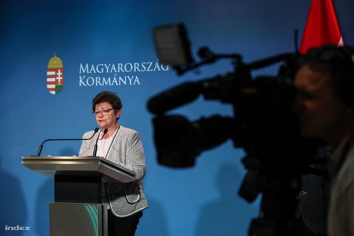 Müllert Cecília az operatív törzs 2020. március 19-én tartott sajtótájékoztatóján Budapesten
