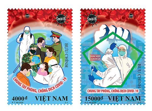 A covid-19-re figyelmeztető vietnámi bélyegek