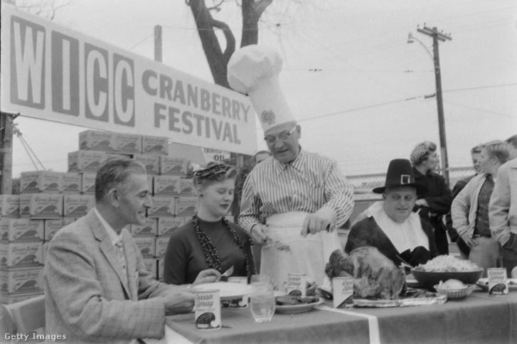 Vörösáfonya fesztivál 1959-ben, amikor bejelentették, hogy a vörösáfonya-termés egy részét beszennyezte a rákkeltő aminotriazol gyomirtó szer