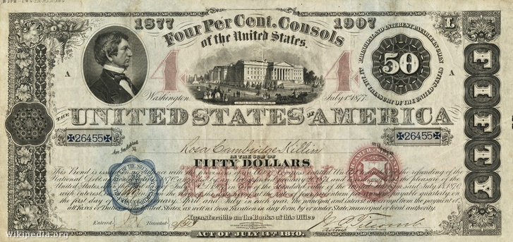 """Az Egyesült Államok által kiadott 1877-es állami """"consol"""""""