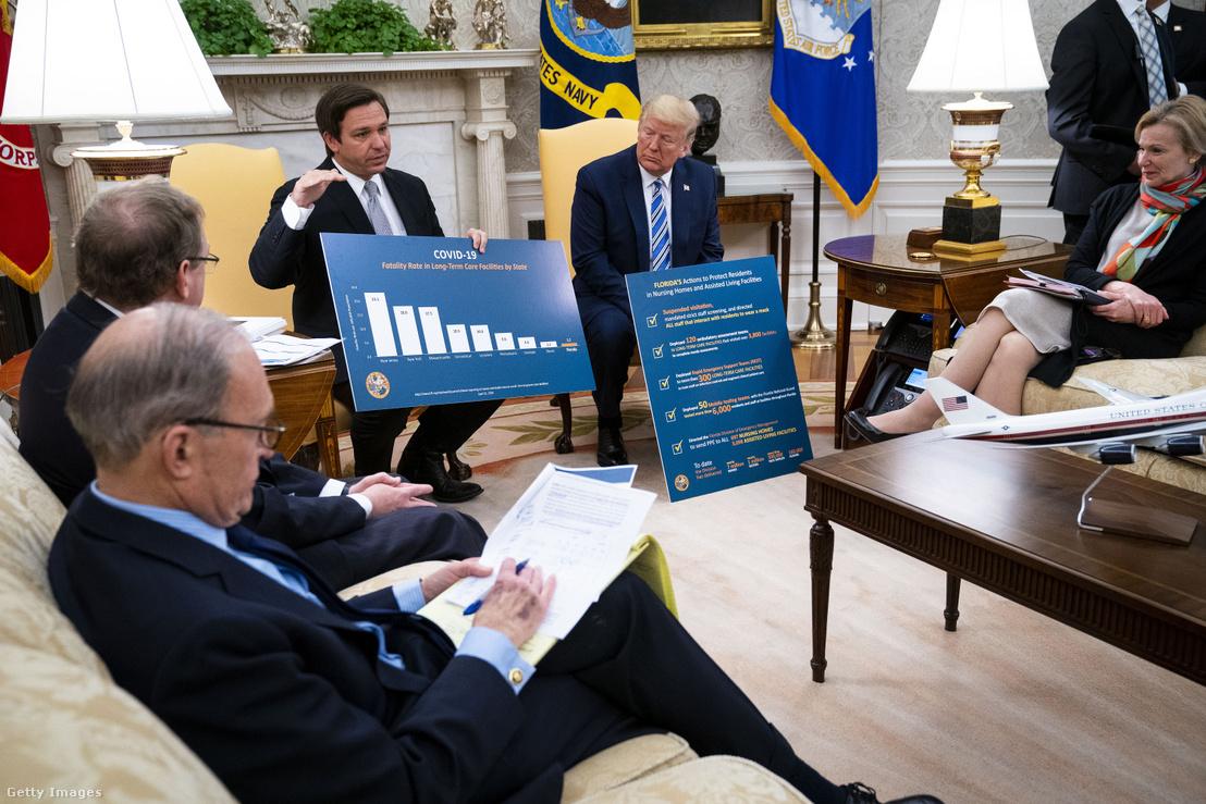 Trump DeSantisszal tárgyal a floridai újranyitásról a Fehér Házban 2020. április 28-án.